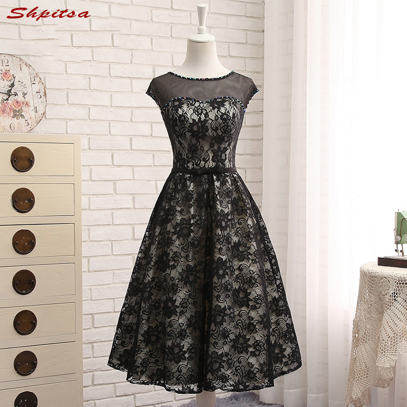 Formal Short Lace   Cocktail     Dresses   Beaded Sexy Prom Party Coctail   Dress   Little Black   Dress   vestidos de coctel festa curto