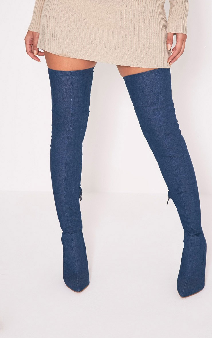 2017 New Arrival Blue Denim Boots Women Pointy Toe High Heel Over The Knee Boots Sexy Elastic Thigh High Boots Zipper Long Boots  new arrival high quality over the knee women boots sexy pointed toe shoes stiletto high heels blue denim jeans women boots