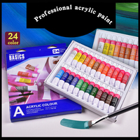 24 Colors 12ml Acrylic Paint set color Nail glass Art Painting paint for fabric Drawing Tools