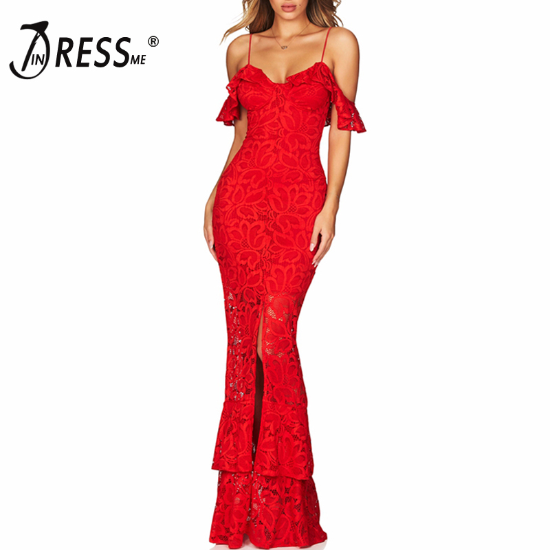 INDRESSME New Women Fashion Sexy Off The Shoulder Strap Long Lace Bandage Dress Red Party Slit