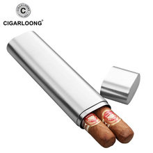 Stainless steel Double pipe cigar tube Travel Outdoor Cigar Humidor Carrying CG-0122