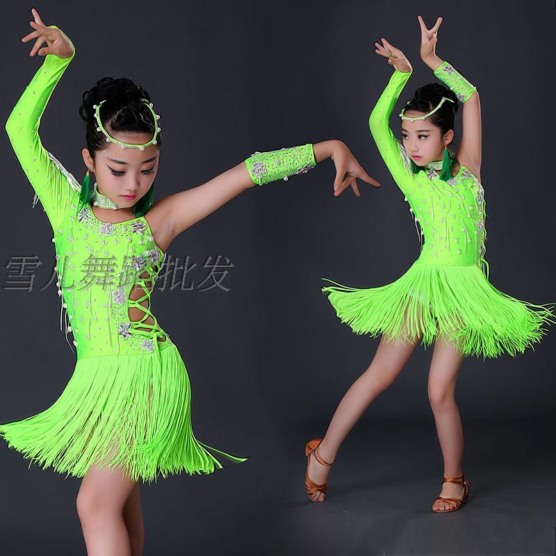 New Child Latin Dance Dresses Kids Ballroom Dance Costume Girl Top Diamond  Tassel Modern Dance Dress Women Waltz Dance Dress