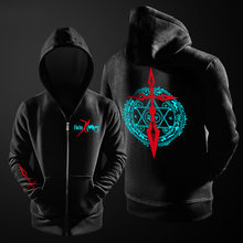 Fate Zero Stay Night Anime Black Hoodies Cardigan Sweatshirts Harajuku Streetwear Zipper Jacket Student Men Hoodies coats Autumn(China)