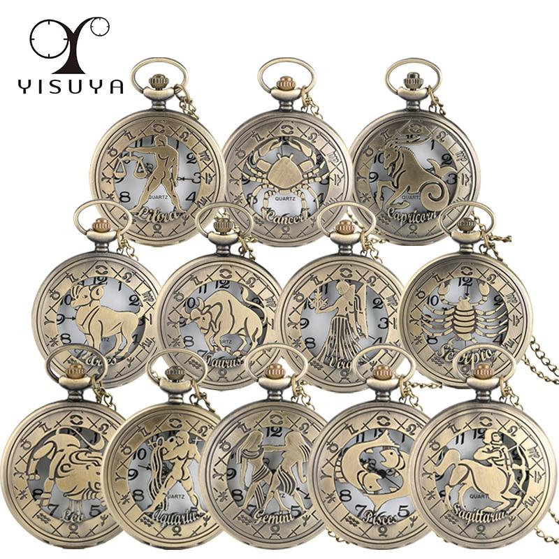 Vintage Zodiac Pattern Pocket Watch Modern Necklace Chain Copper Retro Style Twelve Constellation Men Women Clock Relogio Gift