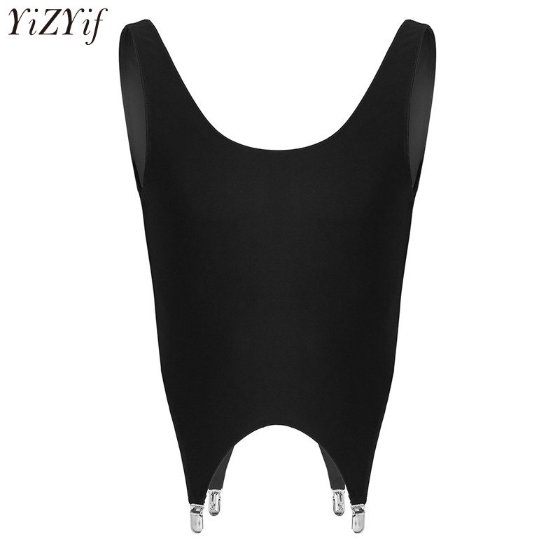 Mens Sleeveless Pullover Muscle Low Back Crop   Top   Corset Nightclub Party Sexy Clothing Vest   Tank     Tops   with Garters Metal Clips