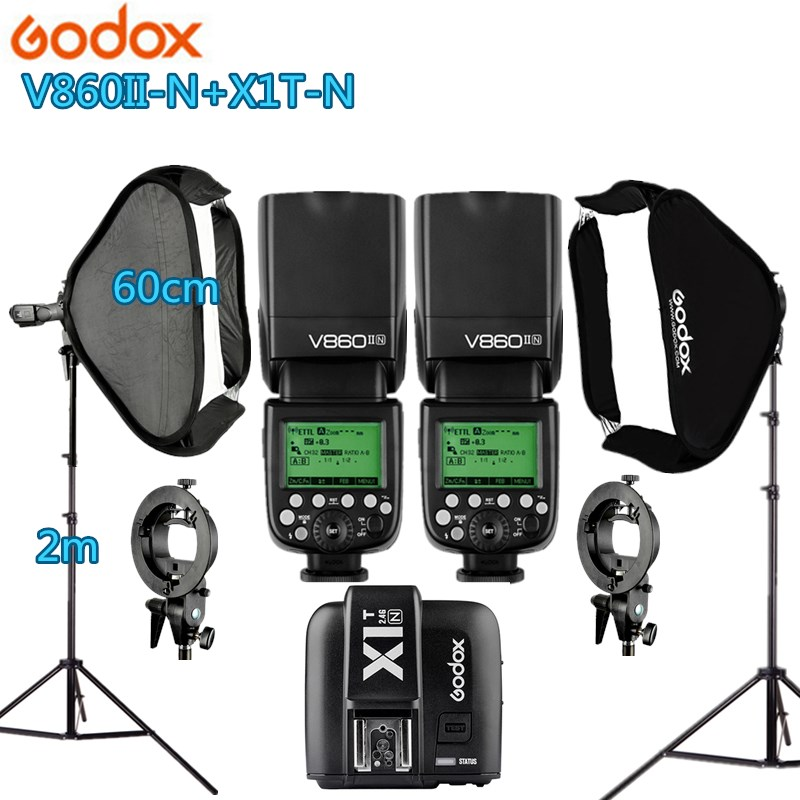 2X Godox V860IIN Flash +1 X1T-N Trigger +2 Light Stand +2 Softbox Photo Studio Kit Photography Accessories for Nikon DSRL godox v860iic v860iin v860iis x1t c x1t n x1t s hss 1 8000s gn60 ttl flash speedlite 2 4g transmission godox softbox filter