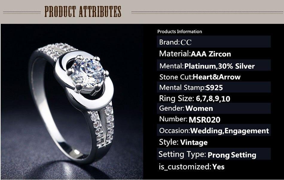 Fashion femmes plaqué argent strass Bague de mariage Taille 5.5 6 6.5 7.25 8 9 10