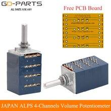 New Orignal JAPAN ALPS 4 Channels Volume Potentiometer Attenuator LOG 10KA 50KA 100KA RK27 Type Hifi Audio DIY Free PCB Board 1P
