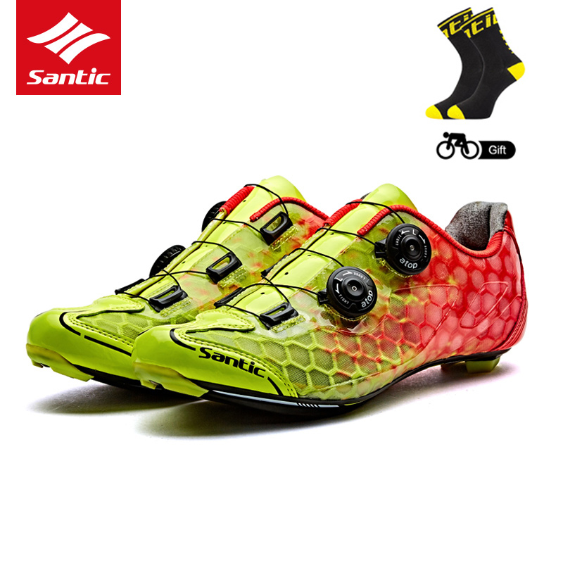 Santic Mens PRO Racer Road Cycling Shoes Carbon Fiber Sole Road Bike Bicycle Shoes Self-locking Sneaker Scarpe Ciclismo Strada santic road cycling shoes pro carbon fiber road bike shoes ultralight athletics self locking bicycle shoes zapatillas ciclismo