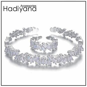 5a440c408fc8 HADIYANA brillo Bagutte joyas de Zirconia brazalete y anillo 2 piezas  conjunto de joyas Dubai africano cobre Bling