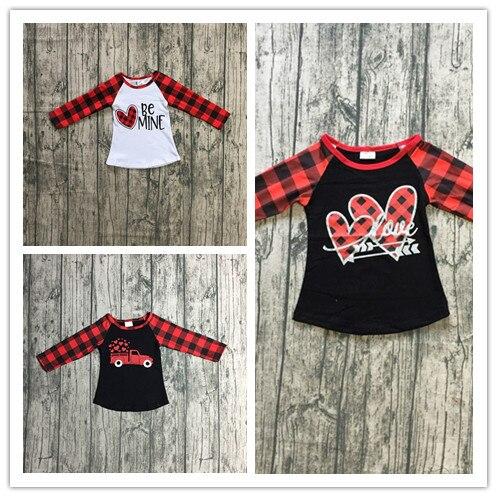 Bebé niñas camiseta tops V-día raglan chicas mío raglans camión enviar corazones chicas Día de San Valentín de cuadros manga