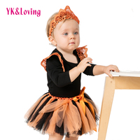 Embroidery Swing Girls Romper Clothing Sets 2017 Halloween Yarn Skirts Newborn Girls Baby Outfit Hallowmas Kids