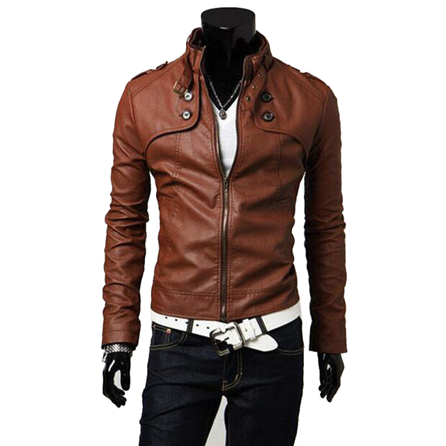 fashion men Stand collar slim coats casual PU leather jacket solid Pu jacket coat male zipper closure jaqueta de couro size 3xl