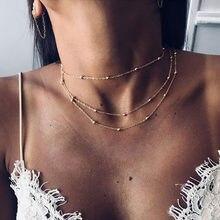 Colar de gargantilha colar de gargantilha de cor de ouro simples boho colar de gargantilha