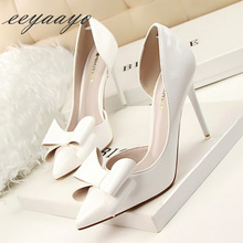 цены 2019 New Spring/Autumn Women Pumps High Thin Heel Pointed Toe Solid Butterfly-Knot Sweet Women Shoes White Female High Heels
