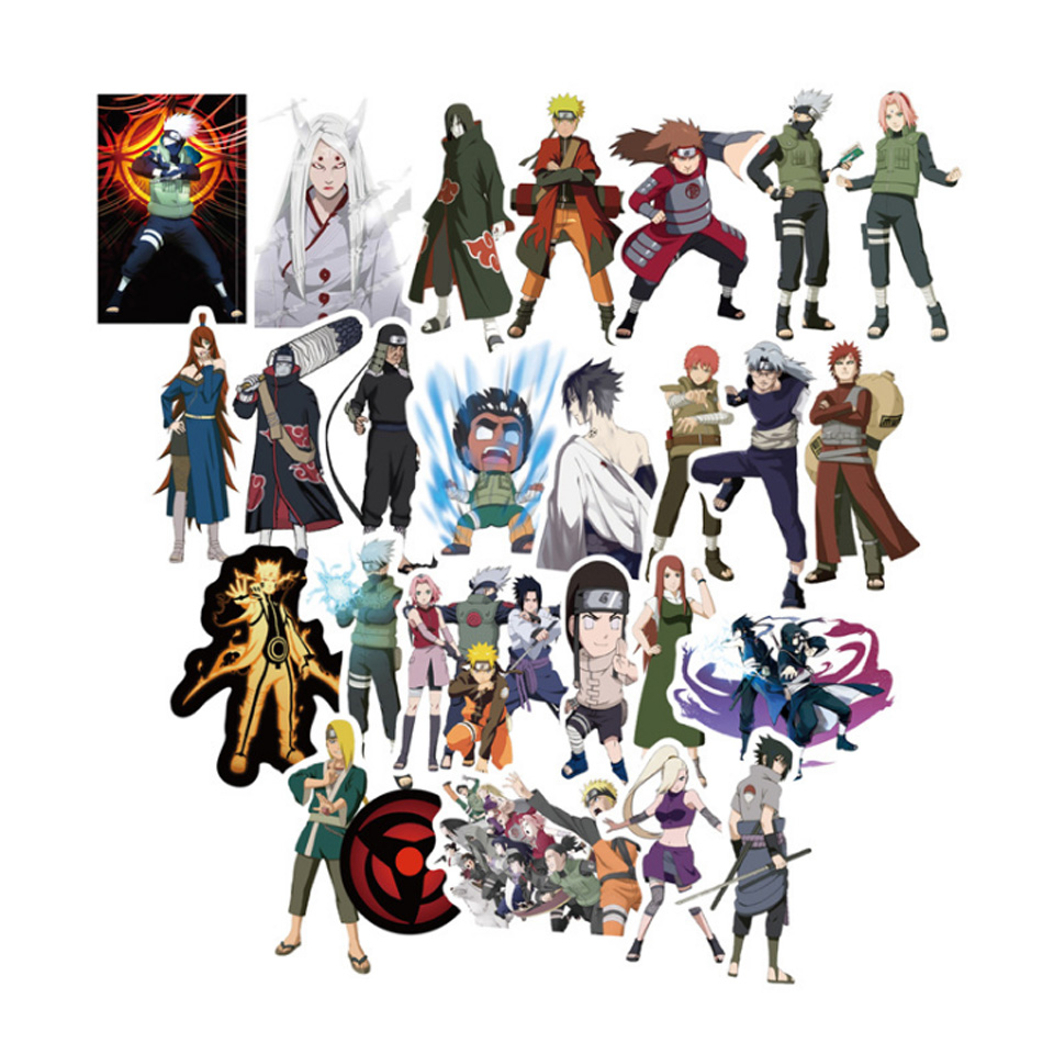 Tronzo stickers 49pcs set naruto sticker plastic sasuke sakura stickers for home decor notebook luggage bicycle laptop in stickers from toys hobbies on
