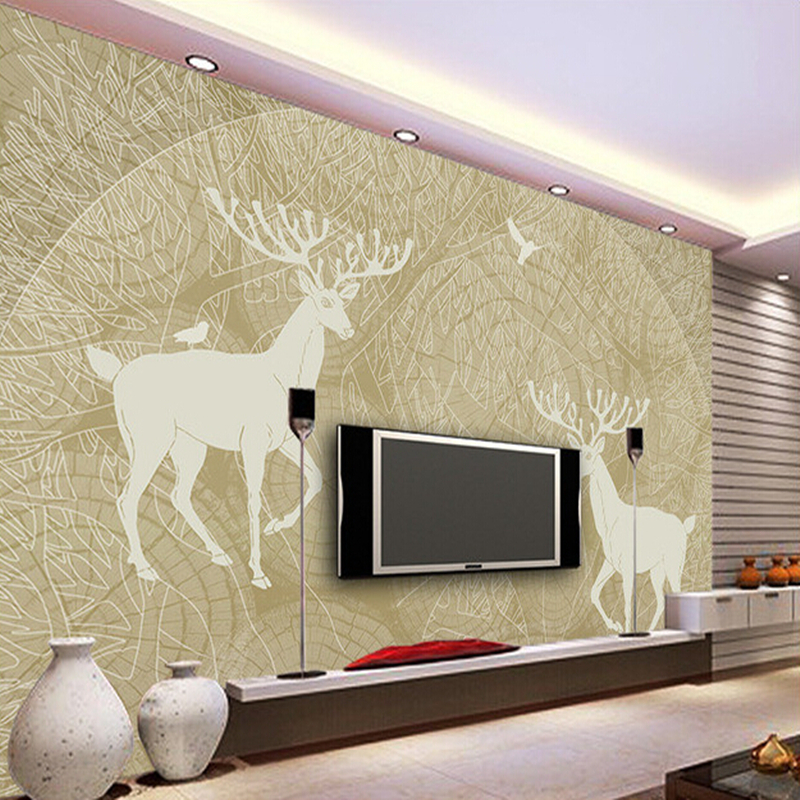 Custom papel DE parede infantil, hand-painted forest birds breeding milu deer murals for children room living room wallpaper rakesh kumar dubey and hari har ram bottlegourd breeding