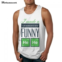Funny Men Tank Tops Fashion 100 Cotton Brand Sleeveless Undershirts Made A Chemistry Two Green Squares