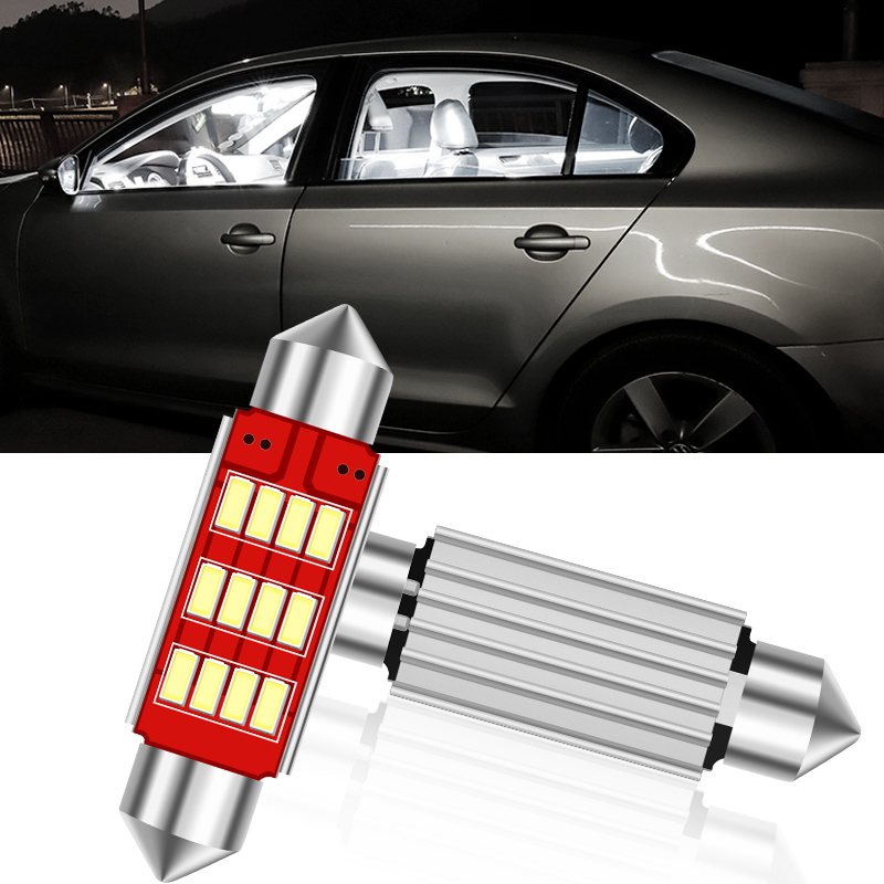 1PCS Adornment light style car 31mm 36mm 39mm <font><b>42mm</b></font> <font><b>LED</b></font> <font><b>bulb</b></font> C5W C10W super bright 4014 SMD Canbus Error Free Auto Interior Doom image