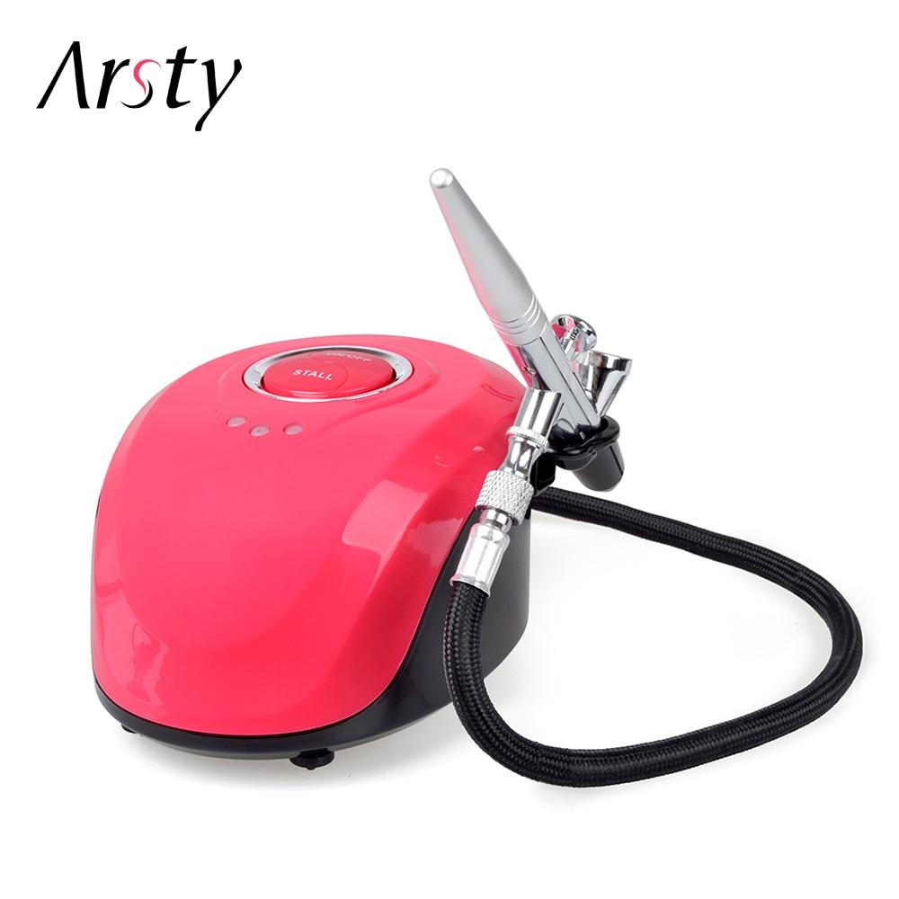 ARSTY Airbrush Kit Kompressor Tragbare Airbrush Tattoo Machen Up 3 Geschwindigkeiten Einstellbare Tattoo Airbrush Für Nagel Und Kuchen Malerei