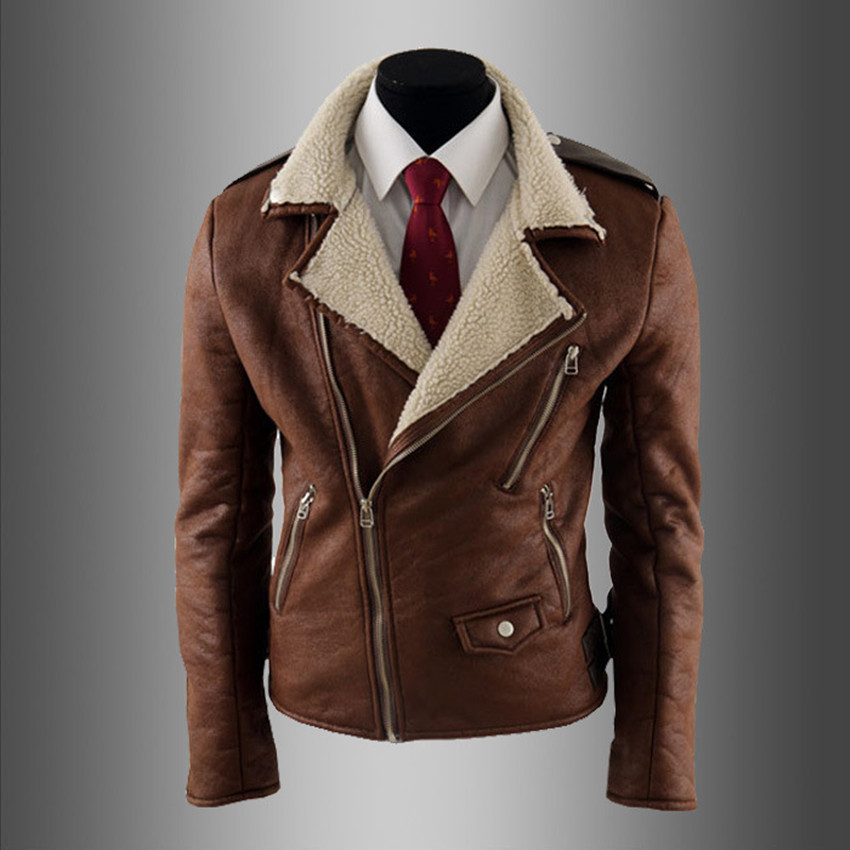 Aliexpress.com : Buy Vintage Leather Jacket Men Lamb Fur Coat ...