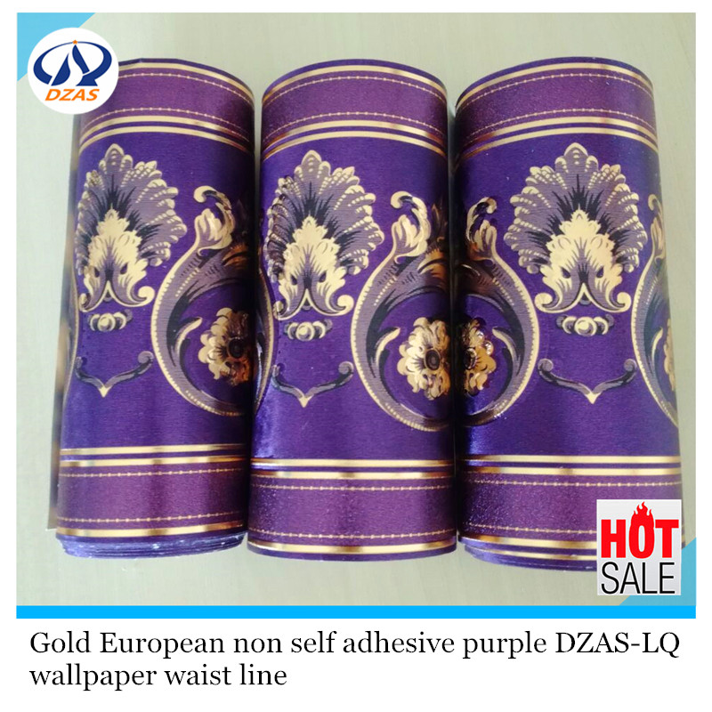 Gold European non self adhesive purple color wallpaper DZAS-LQ wallpaper waist line wallpaper border