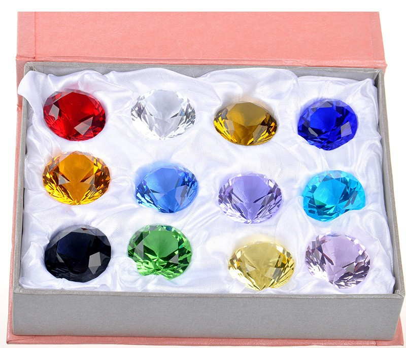 Free Shipping 12pcs box 40mm mixed color multi faceted Crystal Diamond Paperweight Wedding Decorations Centerpiece Brilliant