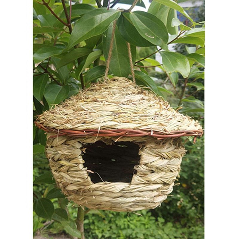 Bird Cage Accessories Decoration Bird House Parrot Hanging Grass Weaved Swing Nest New(China)