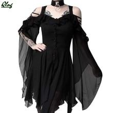 цена на 2019 Women's Fashion Dark In Love Ruffle Sleeves Off Shoulder Gothic Midi Dress ,vestidos,,robe femme