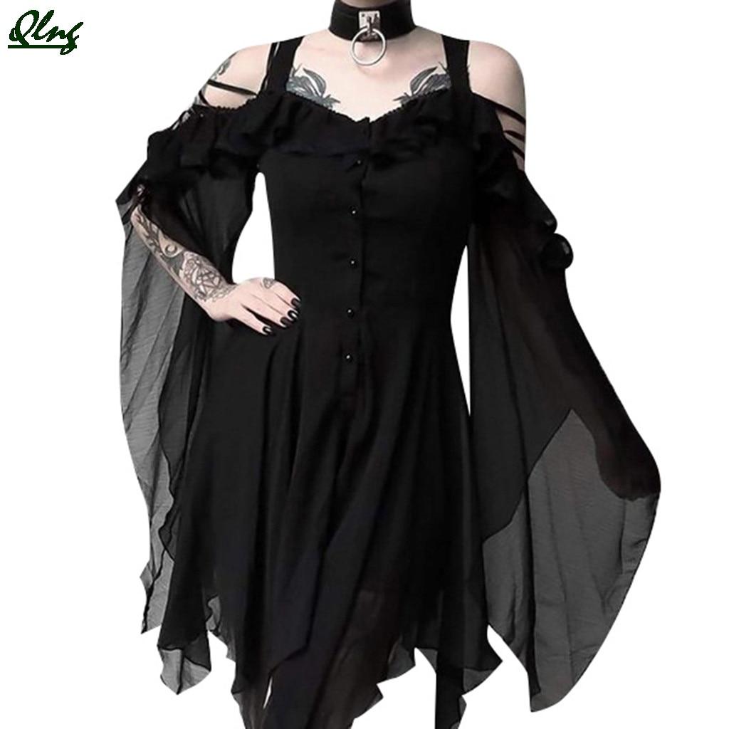2019 moda feminina escuro no amor ruffle mangas fora do ombro gótico midi vestido, vestidos, robe femme