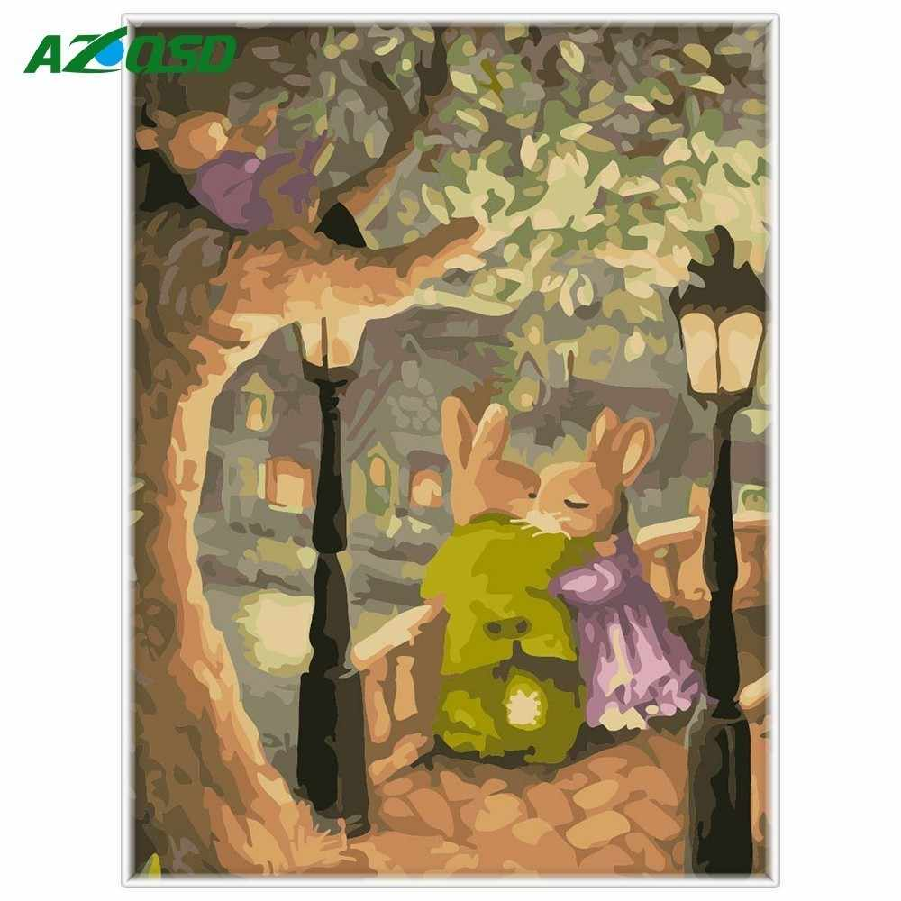 AZQSD Animal DIY Painting By Numbers Wall Art Full Kits Rabbit Lover Coloring Oil Painting On Canvas Drawing Home Artwork