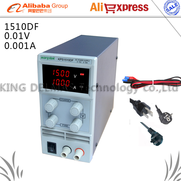 ФОТО KPS1510DF 15V10A 110V-230V 0.1V/0.001A EU LED Digital Adjustable Switch DC Power Supply mA display