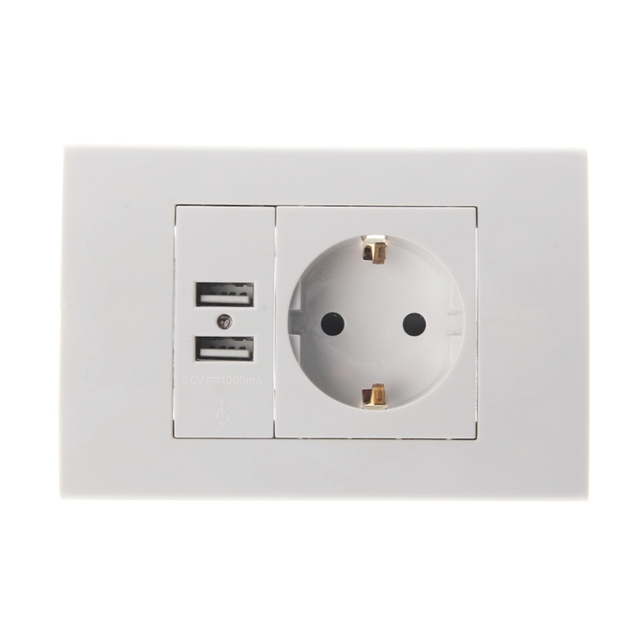 Wall Power Socket Plug 16A EU Standard Electrical Outlet 1000mA Dual ...