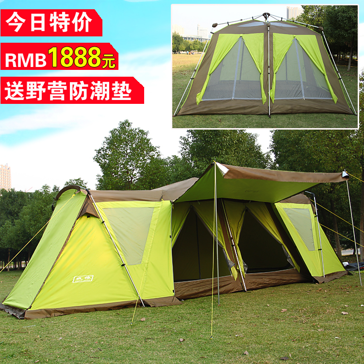 2 bedroom 2 living room 8-12 person automatic beach hiking party base rain proof anti mosquito outdoor camping tent,family tent