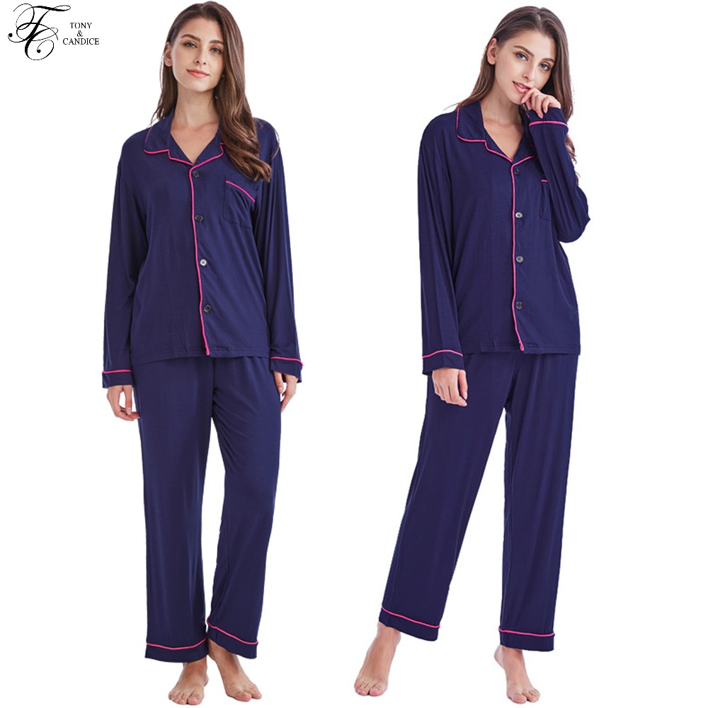 Detail Feedback Questions about Tony Candice Women s Pajamas Set Cotton  Knit Sleepwear Long Sleeve For Ladies Soft Homewear Casual Style Nightgown  For ... 8786ac27a