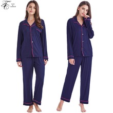 Tony&Candice Womens Pajamas Set Cotton Knit Sleepwear Long Sleeve For Ladies Soft Homewear Casual Style Nightgown Female