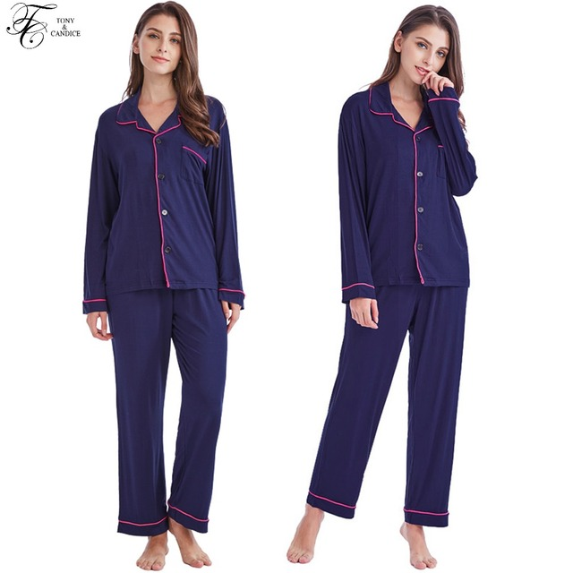f5d082b442 Tony Candice Women s Pajamas Set Cotton Knit Sleepwear Long Sleeve For Ladies  Soft Homewear Casual Style Nightgown For Female