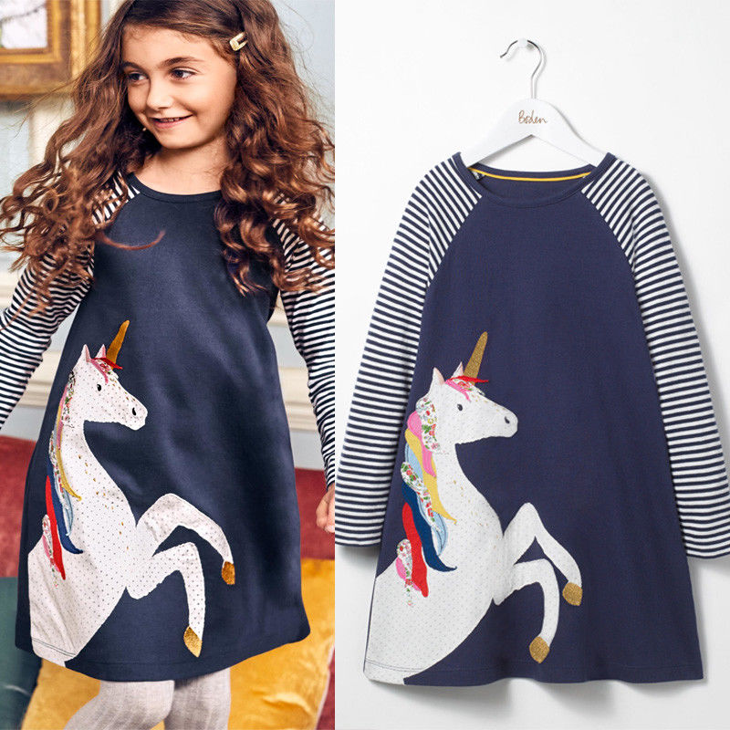 Sweet Cotton Kids Baby Girls Clothes Dress Princess Unicorn Striped Dress Long Sleeve Party Dresses toddlers girls dots deer pleated cotton dress long sleeve dresses