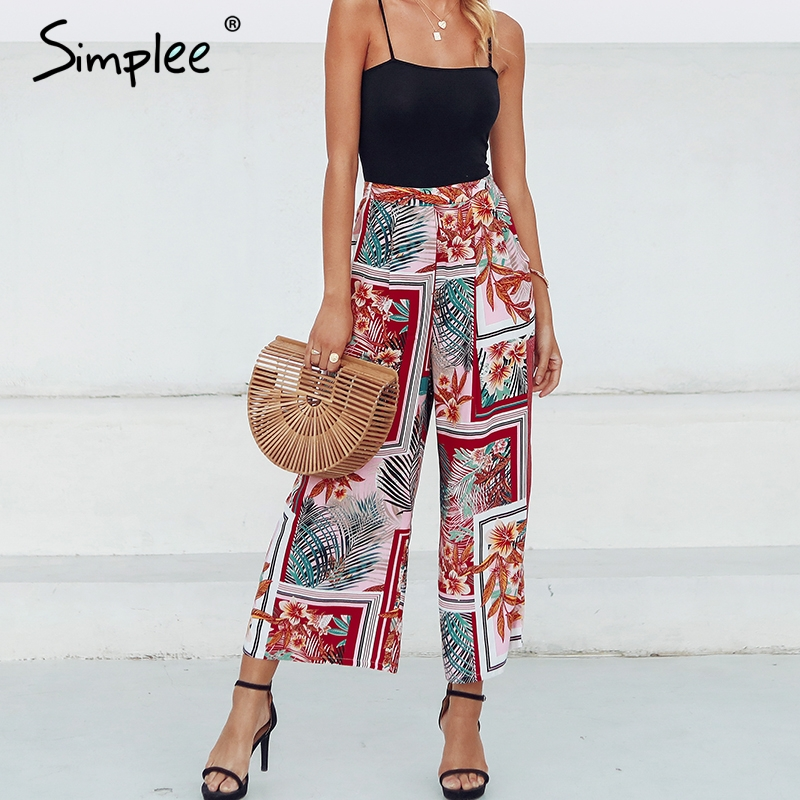 Simplee Bohemian patchwork floral print   wide     leg     pants   Women elastic high waist trousers female Summer beach loose palazzo   pants