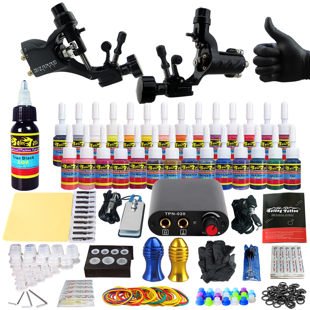 Starter Beginner Complete Tattoo Kit Professional Tattoo Machine Kit Rotary Machine Guns 28 Inks Power Supply Grips Set TK204-19
