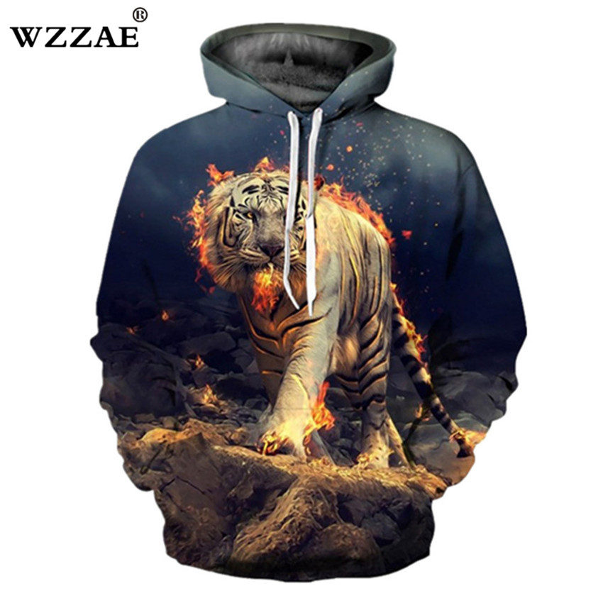 HOT 2018 New Design Burning Tiger Print 3D Hoodies Sweatshirt Fashion Men and Women Hip Hop Spring And Autumn Pullovers Hoody