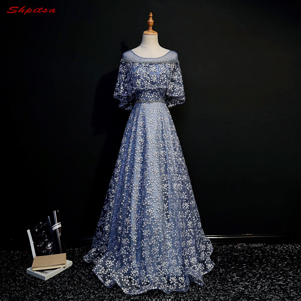 Blue Long Lace Evening Dresses with Cape Party A Line Beautiful ...