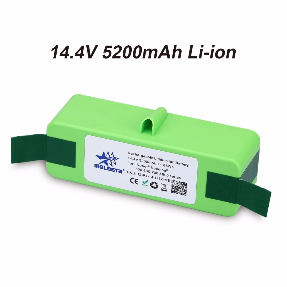 ФОТО Melasta Updated Version 5.2Ah 14.4V LI-ION Vacuum Battery for iRobot Roomba 500 600 700 800 Series 510 530 531 532 620 650 770