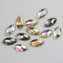 Jewelry making Sew On Crystal Navette rhinestones 4 Sizes Glass Strass Flatback Sewing beads for Wedding dress decoration