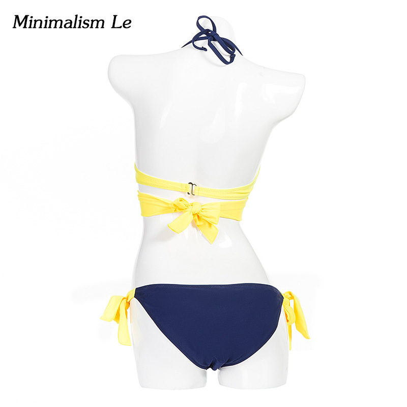 Minimalism Le Push Up Bikini 2018 Cross Patchwork Women Swimwear Swimsuit Halter Top Print Maillot Biquini Bathing Suits 5