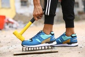 Image 4 - DEWBEST גברים של נעלי בטיחות הבוהן פלדה בנייה הנעלה מגן קל משקל 3D עמיד הלם עבודה Sneaker גברים