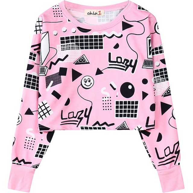 2017 Fashion Womens Crop Sweatshirts Kawaii Harajuku Style Loose Cropped Hoodies Female Short Pink Pullover Tops Girls Clothing by Zoel