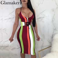 Glamaker Sexy Stripe Print V Neck Bodycon Dress Women High Waist Belt Lace Up Midi Sundress
