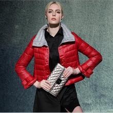 90% белая утка вниз 2016 осенью и зимой тонкие короткие вниз куртка женщин новая мода хит цвета воротник пуховик пальто w843