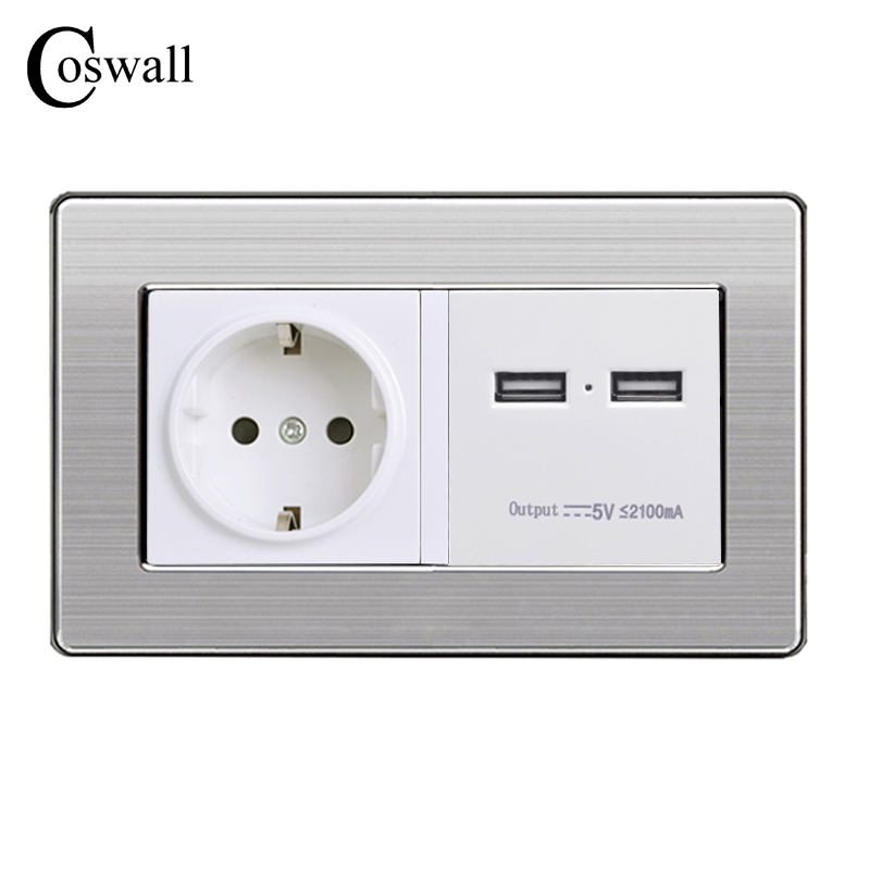 COSWALL 146 Type Wall Socket EU Standard Power Outlet With Dual USB Smart Charge Port For Mobile 2.1A Stainless Steel Panel coswall wall socket uk standard power outlet switched with dual usb charge port for mobile 5v 2 1a output stainless steel panel